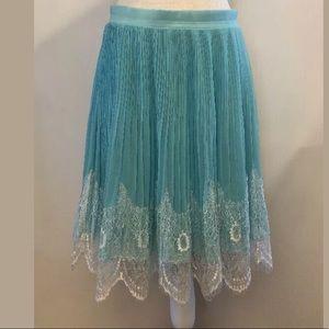 Torrid Skater Skirt Aqua Chiffon Lace Pleats Sz 16